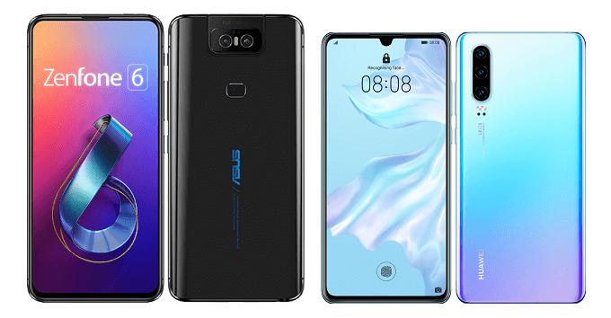 ZenFone 6 ZS630KLとHUAWEI P30のサイズ