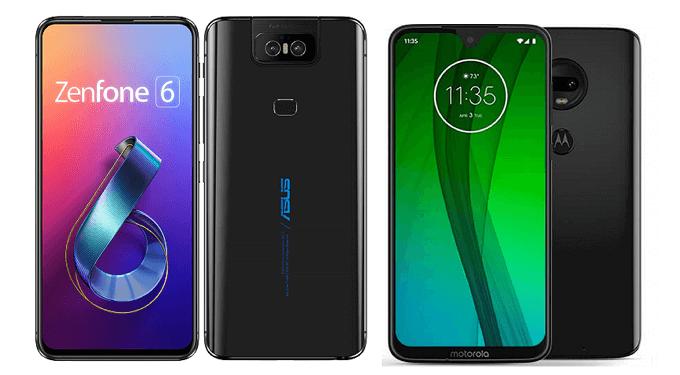 ZenFone 6とmoto g7の比較画像