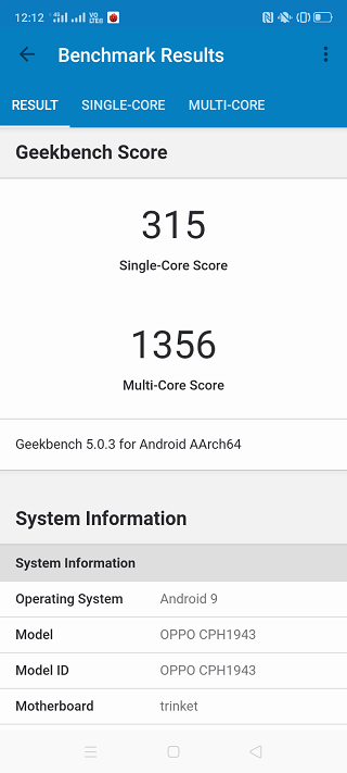 OPPO A5 2020のGeekBench5ベンチマークスコア