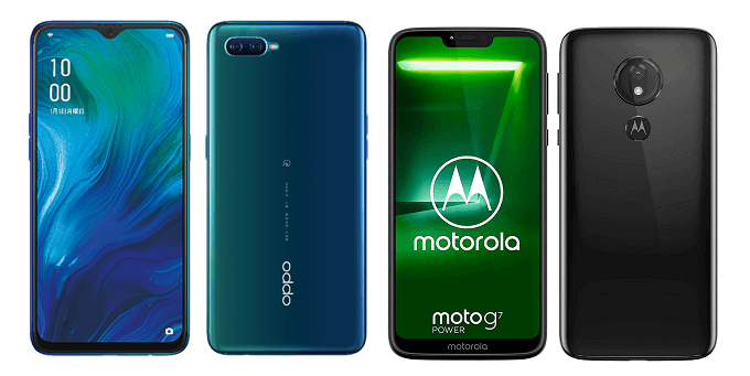 Reno Aとmoto g7 powerの比較画像