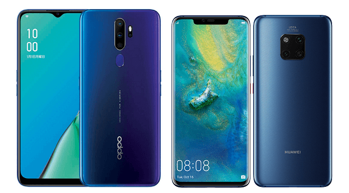 OPPO A5 2020とMate 20 Proの比較画像
