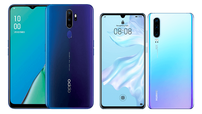 OPPO A5 2020とHUAWEI P30の比較画像