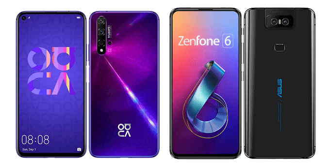 nova 5TとZenFone 6の比較画像