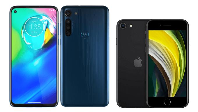 moto g8 powerとiPhone SE(第2世代)の比較画像