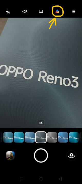 OPPO Reno3 AのカメラUI 色味の調整