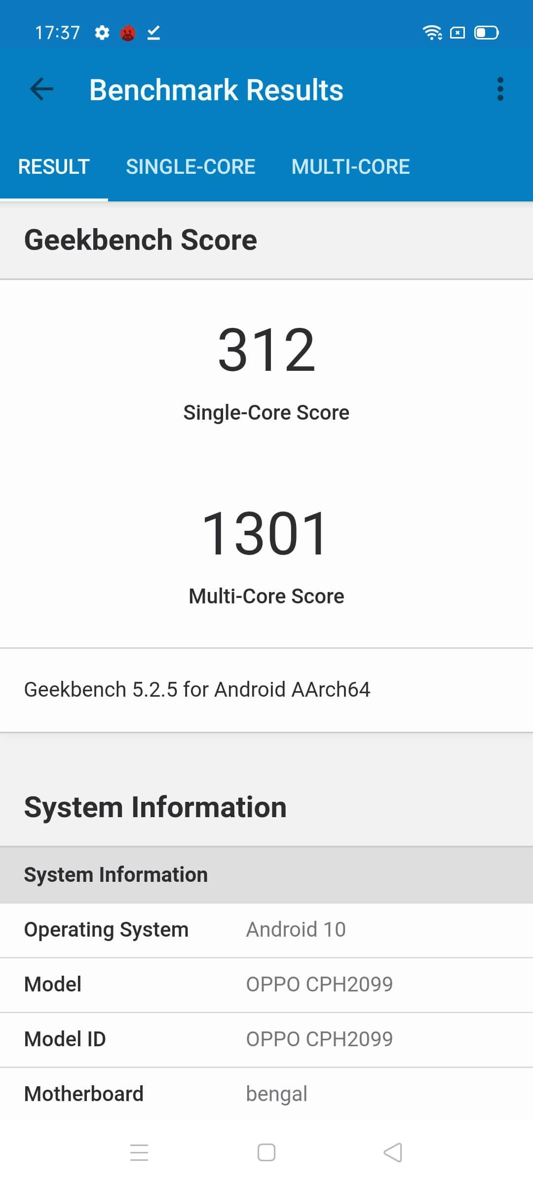 OPPO A73 Geekbench